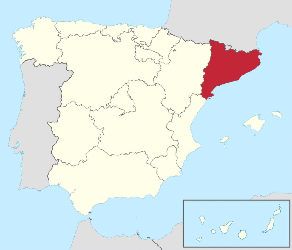 Cataluña en el mapa de España